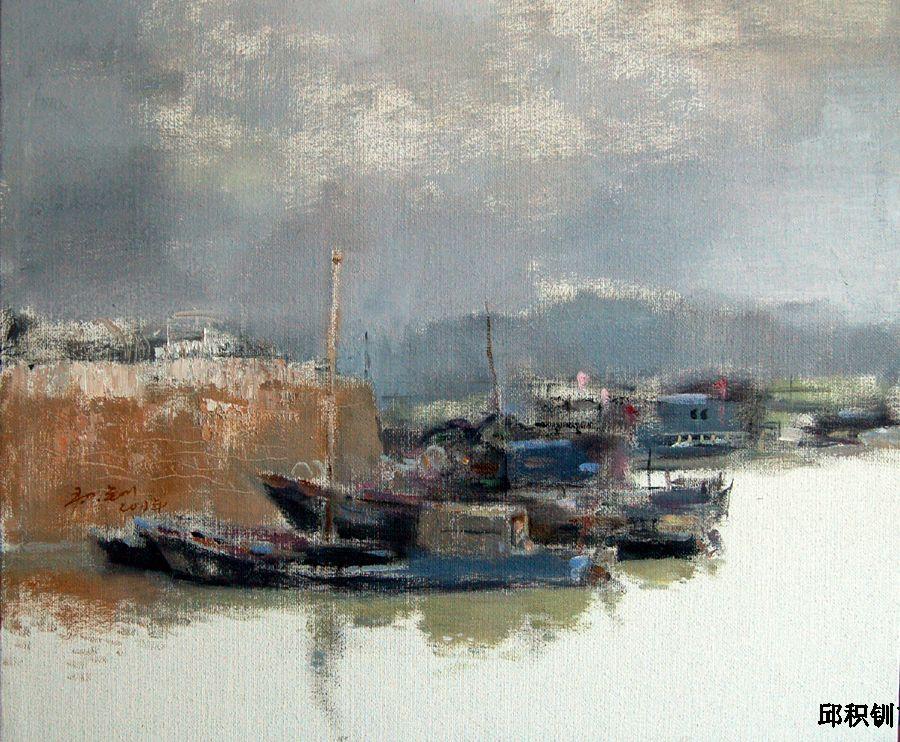 风景油画《幸福港湾》